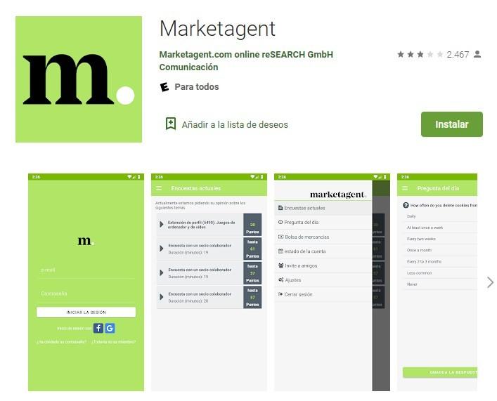 Trabajar con la app de Marketagent