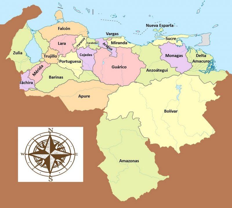 mapa de los estados de venezuela